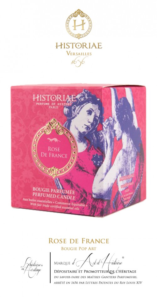 HISTORIAE Rose de France - Bougie Pop Art 190g (50h)