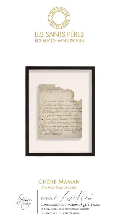 Chère Maman -  Tableau Manuscrit Historique